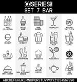 Alcoholic Drinks and Bar. Set of line design icons of bar and alcoholic, non alcoholic drinks, EPS 8 Stock Images