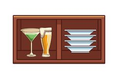 Alcoholic drinks beverages cartoon. Alcoholic drinks beverages at bar club pub wooden furniture cartoon vector illustration graphic design vector illustration