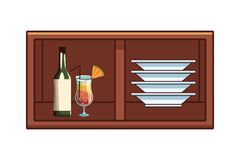Alcoholic drinks beverages cartoon. Alcoholic drinks beverages at bar club pub wooden furniture cartoon vector illustration graphic design royalty free illustration