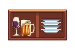 Alcoholic drinks beverages cartoon. Alcoholic drinks beverages at bar club pub wooden furniture cartoon vector illustration graphic design stock illustration