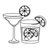 Alcoholic drinks beverages cartoon. Alcoholic drinks beverages cocktails cartoon vector illustration graphic design stock illustration