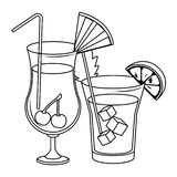 Alcoholic drinks beverages cartoon. Alcoholic drinks beverages cocktails cartoon vector illustration graphic design royalty free illustration