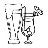 Alcoholic drinks beverages cartoon. Vector illustration graphic design royalty free illustration