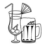 Alcoholic drinks beverages cartoon. Vector illustration graphic design vector illustration