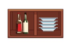 Alcoholic drinks beverages cartoon. Alcoholic drinks beverages wine bottles at bar club pub wooden furniture cartoon vector illustration graphic design royalty free illustration