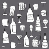 Alcoholic drinks and beverages hand drawn doodle Stock Photo