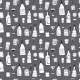 Alcoholic drinks and beverages hand drawn doodle seamless pattern Royalty Free Stock Image