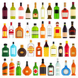 Alcoholic Drinks Bottles Large Vector Set.  Royalty Free Stock Photography