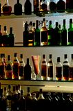 Alcoholic drinks bottles at the pub Royalty Free Stock Photos