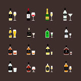 Alcoholic drinks, bottles and recommended glasses. Flat icons set Royalty Free Stock Photos