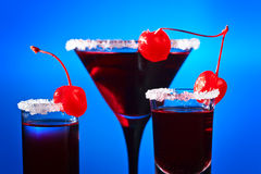 Alcoholic drinks with  cherry Stock Photos
