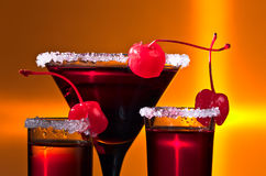 Alcoholic drinks with  cherry Royalty Free Stock Image