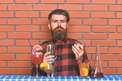 Alcoholic drinks concept. Barman with long beard and mustache and stylish hair on strict face holding shaker, makes. Alcoholic cocktail. Man in checkered shirt stock images