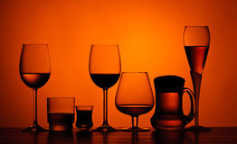 Alcoholic drinks. Different glasses of alcoholic drinks on a table stock photo