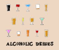 Alcoholic Drinks in a Doodle Style. Array of alcoholic drinks such as beer, whiskies and cocktails, drawn in a doodle style Stock Photography