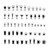 Alcoholic drinks glasses black and white icons set Royalty Free Stock Photos