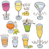Alcoholic drinks. Hand drawing sketch Stock Image