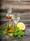 Alcoholic Drinks ice lemon mint leaves Food beverages. Alcoholic Drinks with ice, lemon and mint leaves on wooden background. Food beverages stock photo