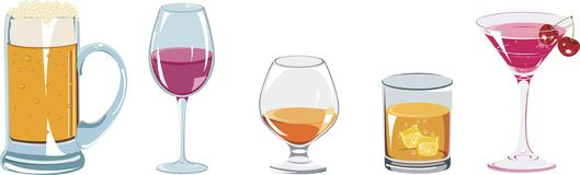 Alcoholic drinks icon set Stock Photography
