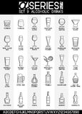Alcoholic Drinks Icons. Set of line design icons of bar and alcoholic drinks, EPS 8 vector illustration