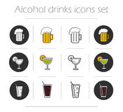 Alcoholic drinks icons set Stock Image