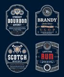 Alcoholic drinks labels. Alcoholic drinks vintage thin line labels and packaging design templates. Bourbon, brandy, scotch whisky and rum labels. Distilling stock illustration