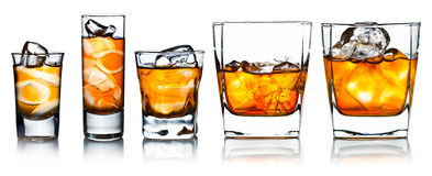 Alcoholic drinks with natural ice isolated on white Royalty Free Stock Images