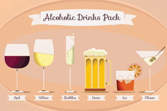 Alcoholic Drinks Pack. A variety of alcoholic drinks vector pack Royalty Free Stock Photo