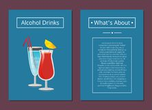 About Alcohol Drinks Banner Vector Illustration. About alcoholic drinks poster with beverages in festive wineglasses decorated by lemon and straws. Background of Stock Illustration
