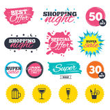 Alcoholic drinks signs. Champagne, beer icons. Royalty Free Stock Photo