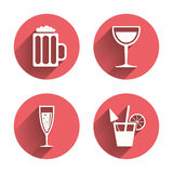 Alcoholic drinks signs. Champagne, beer icons Royalty Free Stock Photo