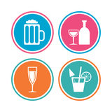 Alcoholic drinks signs. Champagne, beer icons. Royalty Free Stock Images