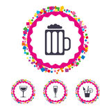 Alcoholic drinks signs. Champagne, beer icons. Stock Image