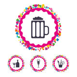 Alcoholic drinks signs. Champagne, beer icons. Stock Photography