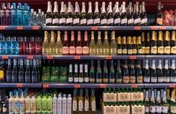 Alcoholic drinks at supermarket Royalty Free Stock Photo