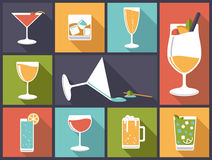 Alcoholic drinks vector illustration. Horizontal flat design illustration with various alcoholic drinks and cocktails stock illustration