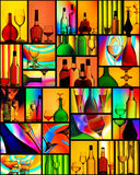 Alcoholic Drinks Wine Glass Collage Stock Photos