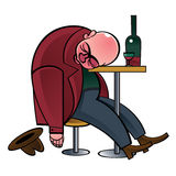 Alcoholic. Drunk man asleep on the table royalty free illustration