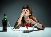 Alcoholic drunk man Royalty Free Stock Image
