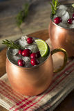 Alcoholic Festive Moscow Mules. With Cranberry and Rosemary Stock Photo