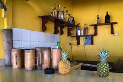 Alcoholic fruit beverages in a common place royalty free stock photography
