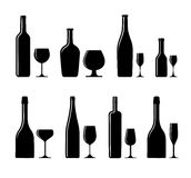 Alcoholic glass and bottle Stock Photos