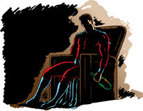 Alcoholic Hero. Alcoholic Superhero, slumped in a chair royalty free illustration