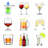 Alcoholic icons vector set Royalty Free Stock Image