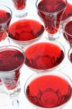 Alcoholic liquors in the crystal glasses Stock Photo