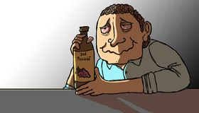 Alcoholic at day. Alcoholic man hugging his bottle of liquor lit by daylight royalty free illustration