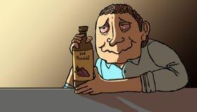 Alcoholic at sunrise. Alcoholic man hugging his bottle of liquor lit by morning light Stock Photography