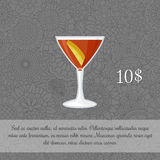 Alcoholic manhattan cocktail card Royalty Free Stock Photo