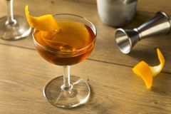 Alcoholic Martinez Cocktail with Gin. Vermouth and Orange Peel stock images