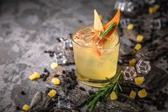 Alcoholic or non-alcoholic cocktail with lemon citrus and ginger with added liqueur, vodka, champagne or martini. Cool drink. Easy Bartenders Recipes and Ideas stock photos